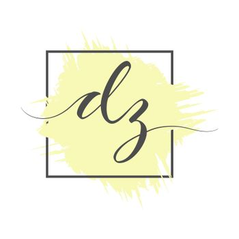 calligraphic lowercase letters DZ are written in a solid line on a colored background in a frame. Vector illustration. Vector illustration. Simple Style