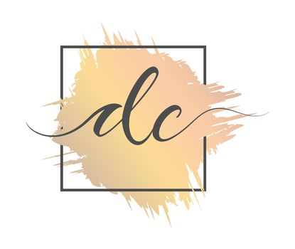 calligraphic lowercase letters DC are written in a solid line on a colored background in a frame. Vector illustration. Simple Style