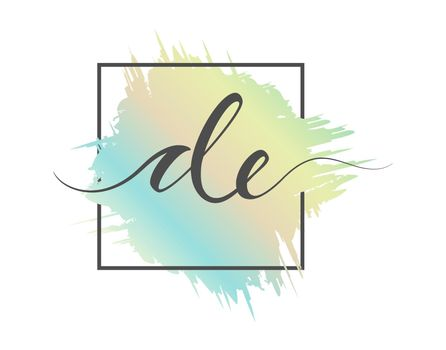 calligraphic lowercase letters DE are written in a solid line on a colored background in a frame. Vector illustration. Simple Style