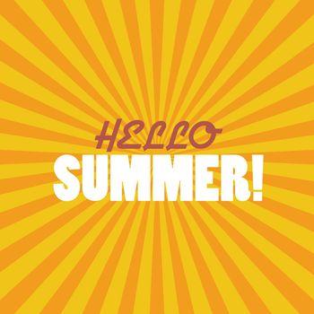 Hello Summer on sunburst pattern