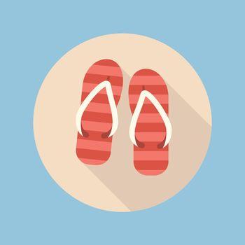 Beach slippers flat icon