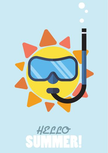 Hello summer with the sun wearing a diving mask and snokel