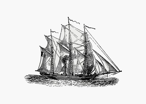 Antique steamboat ship