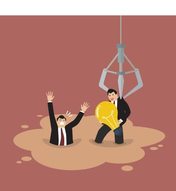 Robotic claw picking a businessman who has an idea from a quicksand
