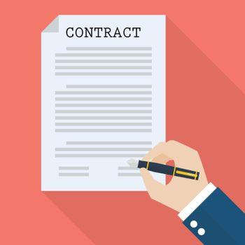 Hand signing contract