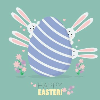 Happy easter with bunnies and easter egg