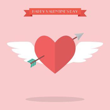 Heart flying with cupid arrow
