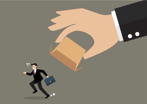 Businessman running away from cardboard box