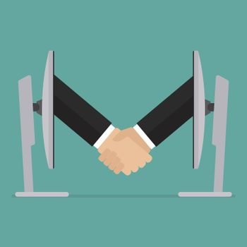 Partnership handshake from two computer