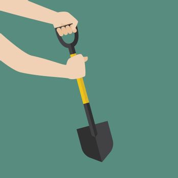 Hand hold shovel prepare to dig