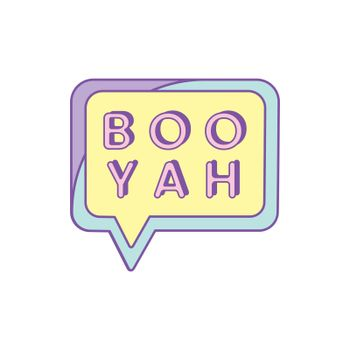 Cute and girly Boo Yah badge vector
