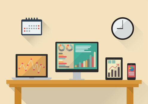 Business stock exchange on various media devices