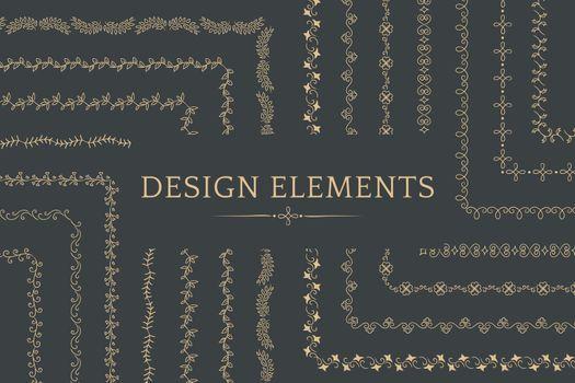 Collection of divider design element vectors