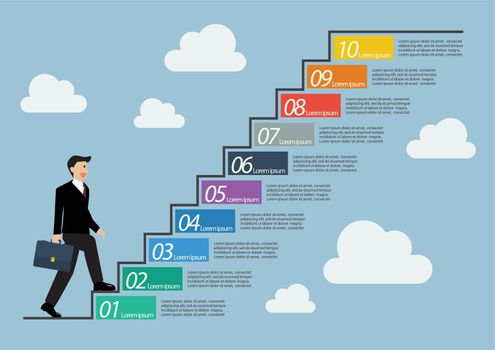 Businessman stepping up a staircase infographic
