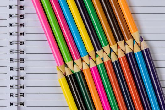 A variety of colored different stationery in stands on a school supplies the flat lay