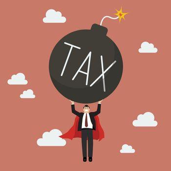 Businessman superhero carry tax bomb