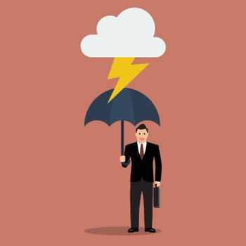 Businessman with umbrella protect from thunder