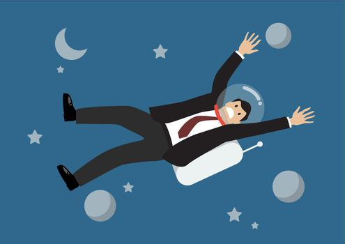 Businessman floating in the space