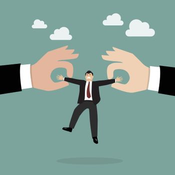Boss hands are fighting for important businessman