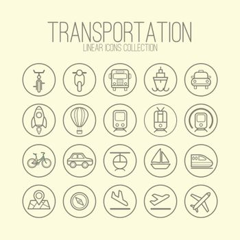Transportation Linear Icons