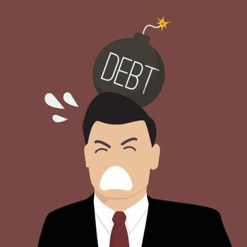 Businessman with debt bomb on his head