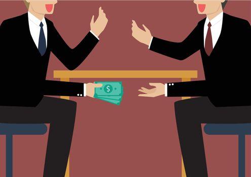 Businessmen Passing Money Under the Table