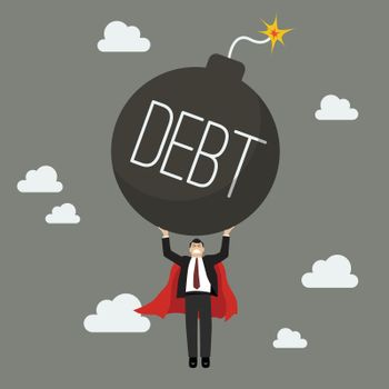 Businessman superhero carry debt bomb
