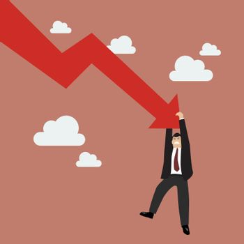 Businessman try hard to hold on falling graph down