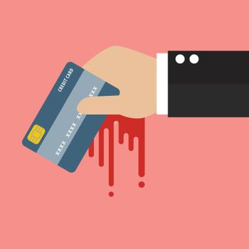 Businessman Bloody Hand Holding Credit Card