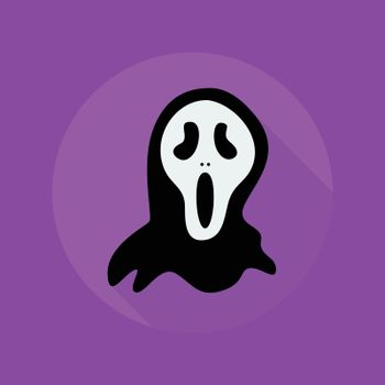 Halloween Flat Icon. Creepy ghost