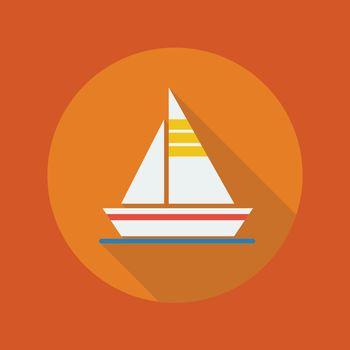 Travel Flat Icon. Sail boat