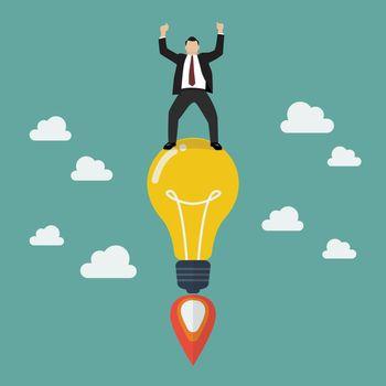 Businessman on a lightbulb idea rocket.