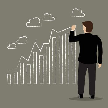Businessman drawing positive trend graph