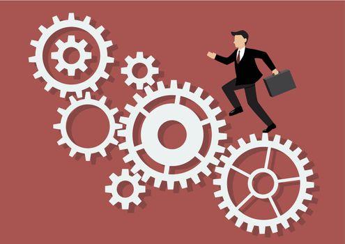 Businessman running on mechanism system