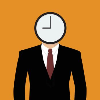 Businessman his head is a clock