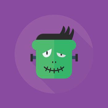 Halloween Flat Icon. Frankenstein