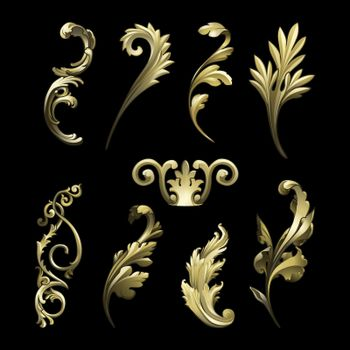 Golden Baroque flourish elements vector set