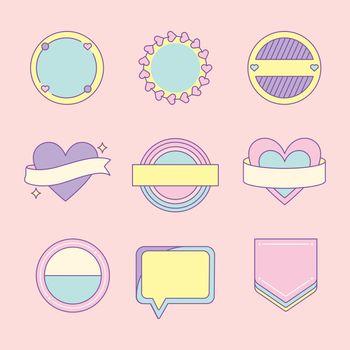 Set of cute and girly badge vectors