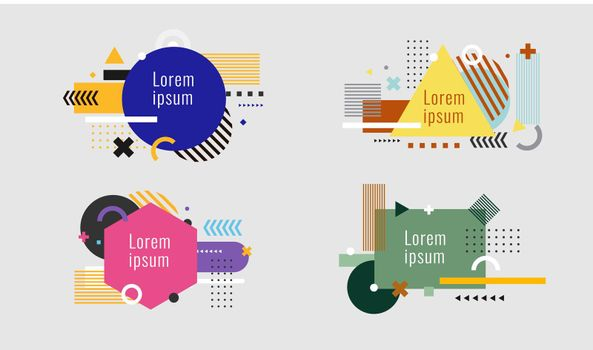 Set of creative modern geometric elements isolated on white background
