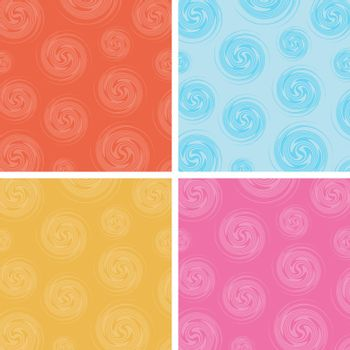 Set of abstract circles spin pattern multicolor background
