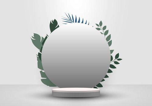 3D realistic cylinder podium minimal scene and circle backdrop in white background with tropical green leaves