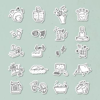 Activities at home doodle style sticker vector set