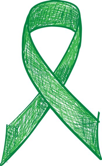 Green ribbon awareness isolated on white background