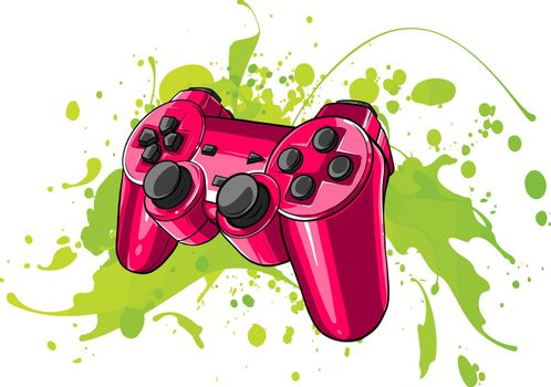 game Joypad with colored spots vector illustration