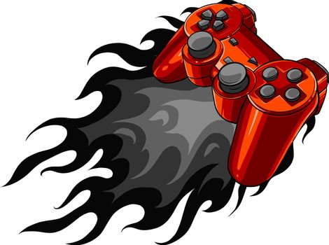 red joypad with flames for gaming vector illustration