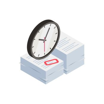 Clock Paperwork Burnout Composition