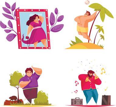 Body Positive Composition Icon Set