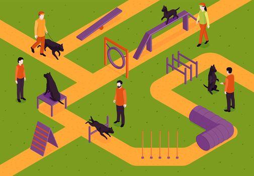 Dog Training Isometric Composition