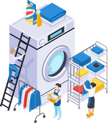 Washing Clothes Isometric Composition