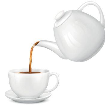 Pouring Tea Realistic Composition